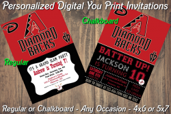 Arizona Diamondbacks Digital Party Invitation #4 (Regular or Chalkboard)