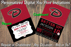 Arizona Diamondbacks Digital Party Invitation #6 (Regular or Chalkboard)