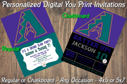 Arizona Diamondbacks Digital Party Invitation #03A (Regular or Chalkboard)
