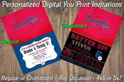 Atlanta Braves Personalized Digital Party Invitation #1 (Regular or Chalkboard)