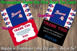 Atlanta Braves Personalized Digital Thank You Card #01A (Regular or Chalkboard)