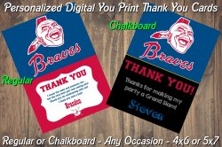 Atlanta Braves Personalized Digital Thank You Card #02A (Regular or Chalkboard)