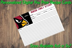 Arizona Cardinals Personalized Digital Recipe Cards #1 (4x6 or 5x7)