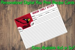 Arizona Cardinals Personalized Digital Recipe Cards #2 (4x6 or 5x7)