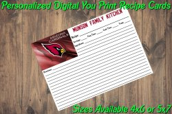 Arizona Cardinals Personalized Digital Recipe Cards #3 (4x6 or 5x7)