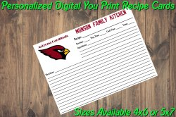 Arizona Cardinals Personalized Digital Recipe Cards #4 (4x6 or 5x7)