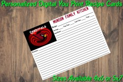 Arizona Cardinals Personalized Digital Recipe Cards #5 (4x6 or 5x7)