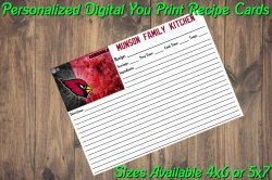 Arizona Cardinals Personalized Digital Recipe Cards #6 (4x6 or 5x7)