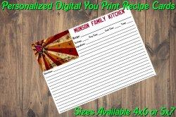 Arizona Cardinals Personalized Digital Recipe Cards #7 (4x6 or 5x7)