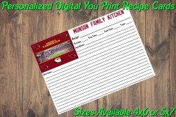Arizona Cardinals Personalized Digital Recipe Cards #8 (4x6 or 5x7)