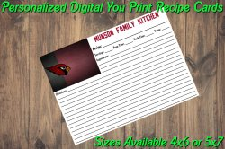 Arizona Cardinals Personalized Digital Recipe Cards #9 (4x6 or 5x7)