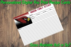 Arizona Cardinals Personalized Digital Recipe Cards #10 (4x6 or 5x7)
