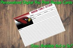 Arizona Cardinals Personalized Digital Recipe Cards #10 (4x6 or 5x7)