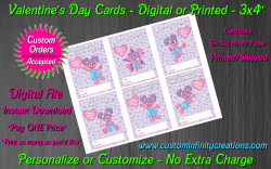 Abby Cadabby Digital or Printed Valentines Day Cards 3x4 Sheet #1