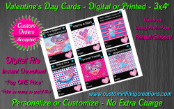 Abby Cadabby Chalkboard Digital or Printed Valentines Day Cards 3x4 Sheet #2