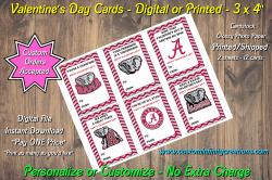 Alabama Crimson Tide Digital or Printed Valentines Day Cards 3x4 Sheet #1