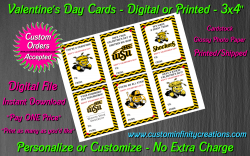 Wichita State Shockers Digital or Printed Valentines Day Cards 3x4 Sheet #1