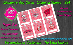 Wisconsin Badgers Digital or Printed Valentines Day Cards 3x4 Sheet #2