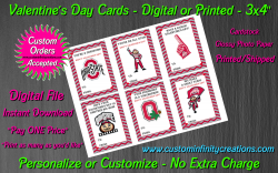 Ohio State Buckeyes Digital or Printed Valentines Day Cards 3x4 Sheet #1