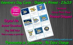 Toledo Walleye Hockey Digital or Printed Valentines Day Cards 2.5x3.5 Sheet #1