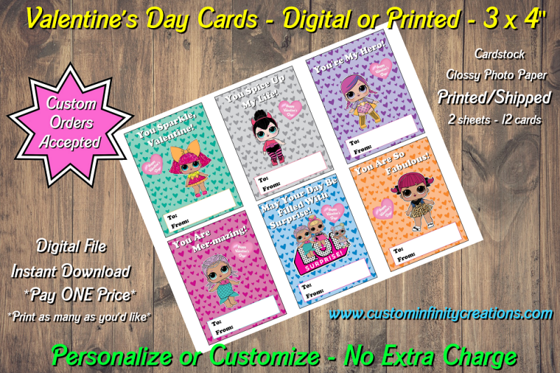 LOL Surprise Dolls Digital or Printed Valentines Day Cards 3x4