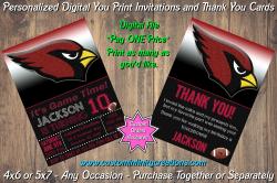 Arizona Cardinals Chalkboard Digital Party Invitation Thank You Card #10