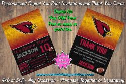 Arizona Cardinals Chalkboard Digital Party Invitation Thank You Card #12
