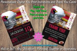 Arizona Cardinals Chalkboard Digital Party Invitation Thank You Card #13
