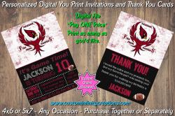 Arizona Cardinals Chalkboard Digital Party Invitation Thank You Card #15