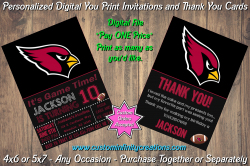 Arizona Cardinals Chalkboard Digital Party Invitation Thank You Card #16