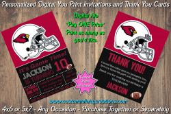 Arizona Cardinals Chalkboard Digital Party Invitation Thank You Card #18