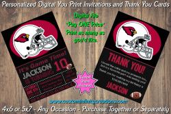 Arizona Cardinals Chalkboard Digital Party Invitation Thank You Card #20