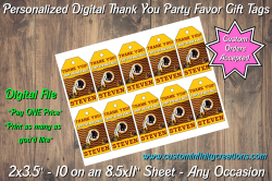 Washington Redskins Football Digital Thank You Party Favor Gift Tags #1