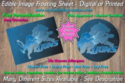 Detroit Lions Football Edible Image Frosting Sheet #11 Cake Cupcake Topper