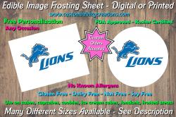 Detroit Lions Football Edible Image Frosting Sheet #40 Cake Cupcake Topper