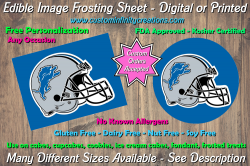 Detroit Lions Football Edible Image Frosting Sheet #27 Cake Cupcake Topper