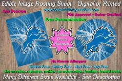Detroit Lions Football Edible Image Frosting Sheet #15 Cake Cupcake Topper