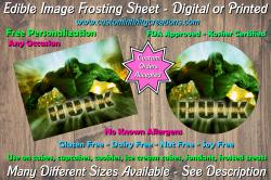 Hulk Marvel Superhero Edible Image Frosting Sheet #16 Cake Cupcake Topper