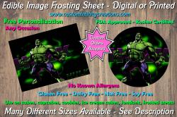 Hulk Marvel Superhero Edible Image Frosting Sheet #17 Cake Cupcake Topper