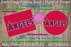 Los Angeles Angels Baseball Edible Image Frosting Sheet #4 Cake Cupcake Topper