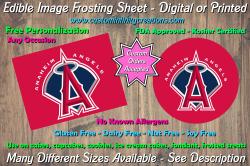 Los Angeles Angels Baseball Edible Image Frosting Sheet #8Z Cake Cupcake Topper