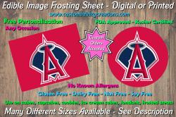 Los Angeles Angels Baseball Edible Image Frosting Sheet #9Z Cake Cupcake Topper