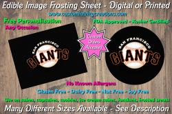 San Francisco Giants Baseball Edible Image Frosting Sheet #3 Cake Cupcake Topper