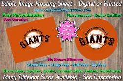 San Francisco Giants Baseball Edible Image Frosting Sheet #7 Cake Cupcake Topper