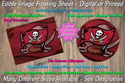 Tampa Bay Buccaneers Football Edible Image Frosting Sheet #8 Cake Cupcake Topper