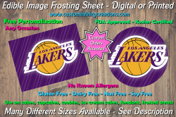 Los Angeles Lakers Basketball Edible Image Frosting Sheet #2 Cake Cupcake Topper