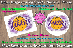 Los Angeles Lakers Basketball Edible Image Frosting Sheet #4 Cake Cupcake Topper