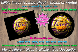 Los Angeles Lakers Basketball Edible Image Frosting Sheet #5 Cake Cupcake Topper