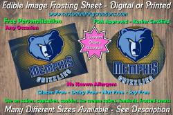 Memphis Grizzlies Basketball Edible Image Frosting Sheet #4 Cake Cupcake Topper