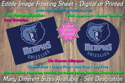 Memphis Grizzlies Basketball Edible Image Frosting Sheet #9 Cake Cupcake Topper